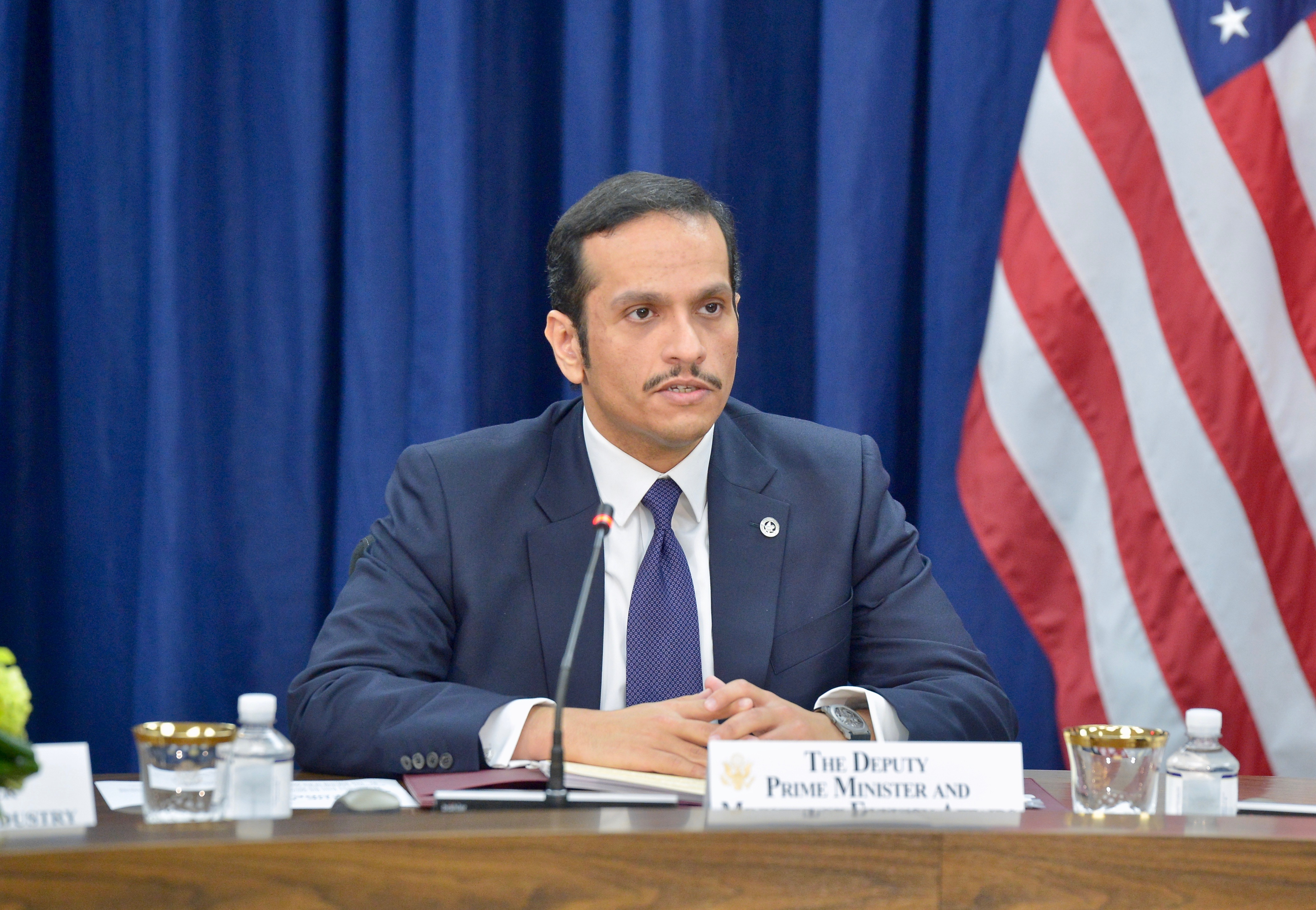 File:Qatari Foreign Minister Sheikh Mohammed bin Abdulrahman Al Thani Delivers Remarks at the High-Level Opening Session of the Inaugural U.S.-Qatar Strategic Dialogue.jpg - Wikimedia Commons