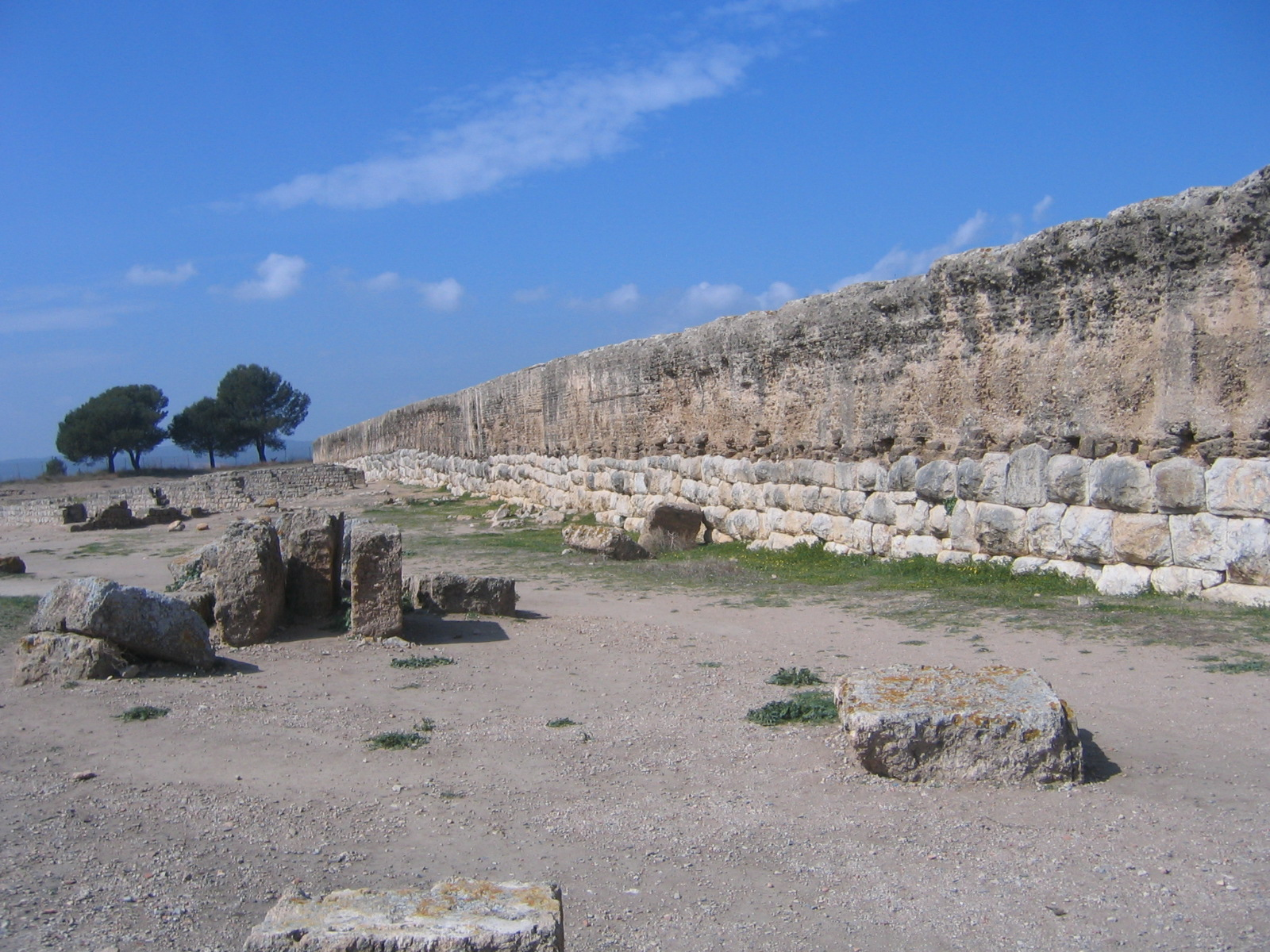 Roman wall in Empúries (Spain). This mosaic is located in the Forum. 1st cent...