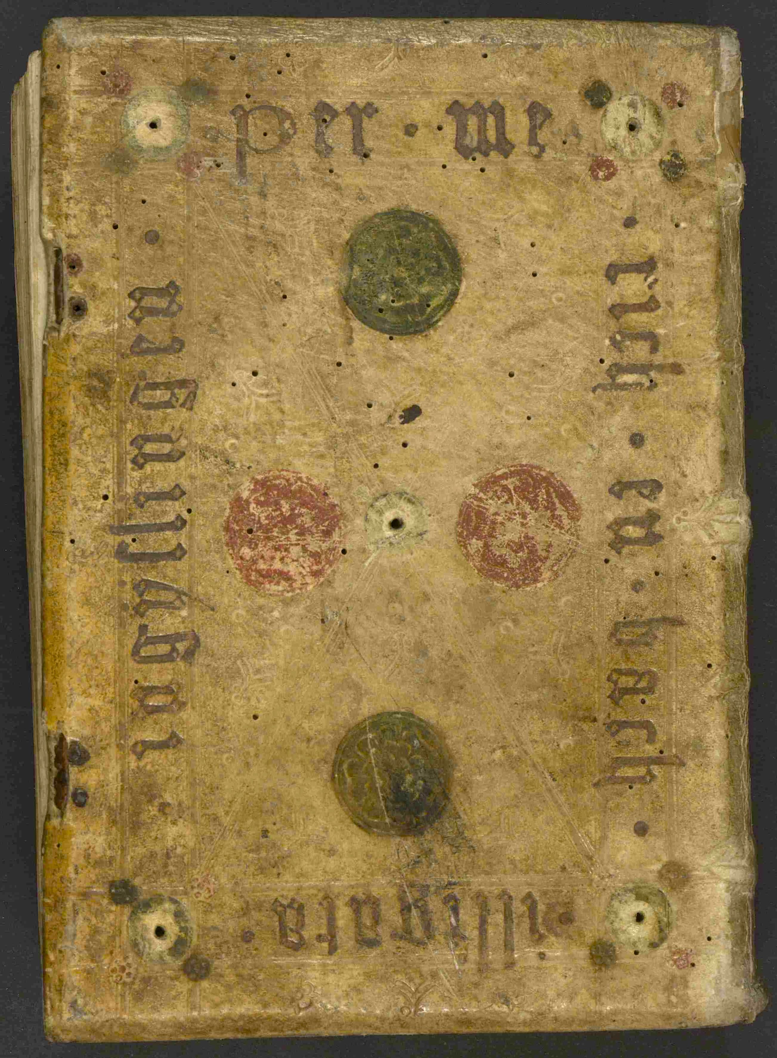 Sermones de tempore et de sanctis, Hinterdeckel mit Angabe des Buchbinders.jpg