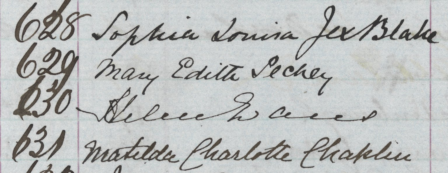 Matriculation Signatures: Sophia Jex-Blake, Mary Pechey, Helen Evans, Matilda Chaplin