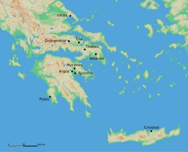 图右下角是克里特岛,克里特岛西北方向,更大的那个岛是伯罗奔尼撒半岛