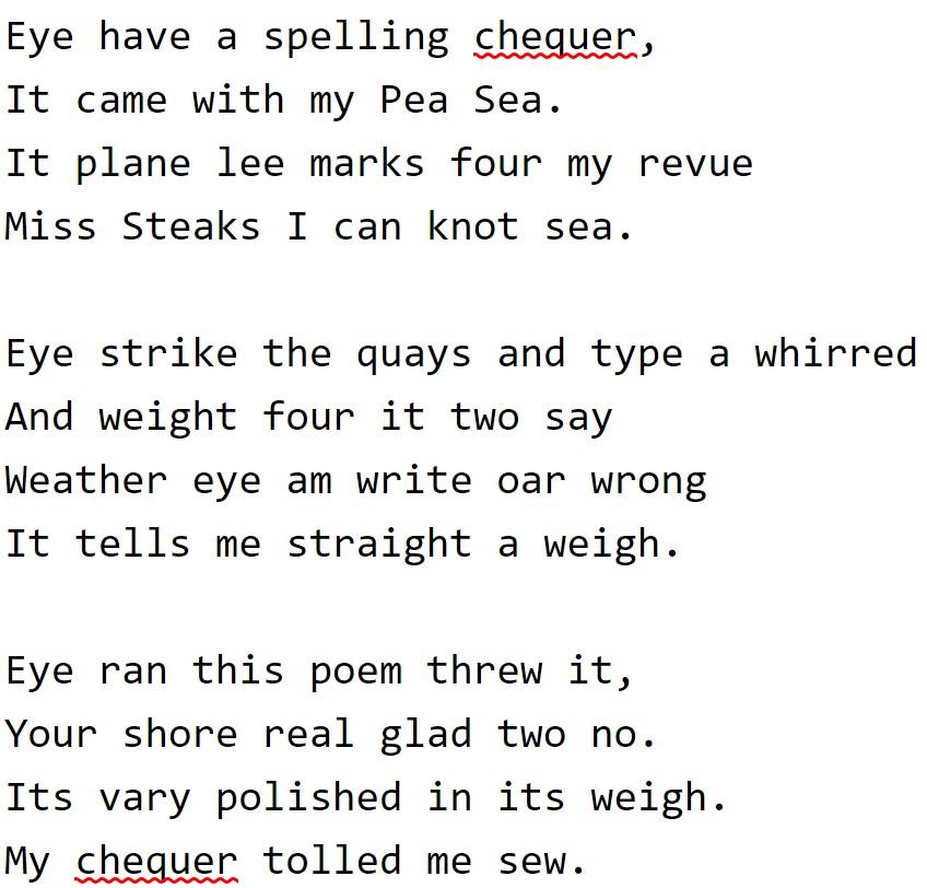image regarding Missing Man Table Poem Printable called Spell checker - Wikipedia