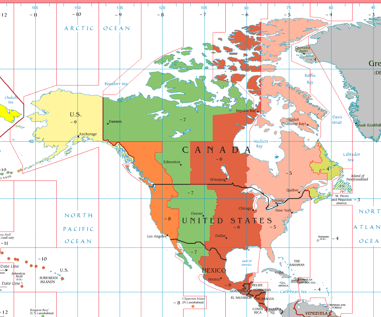 Standard Time Zones of North America