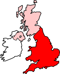 England and Wales (red), with the rest of the ...
