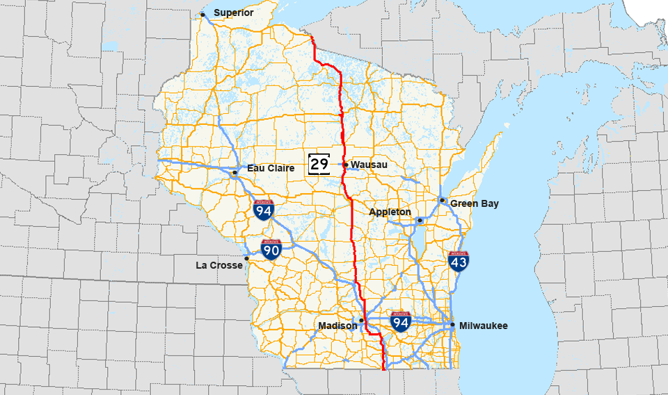 Us Highway Map Of Wisconsin Submited Images