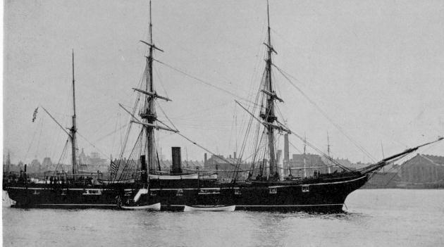 The Civil War ship USS Kearsarge taking off from port (Wikimedia)