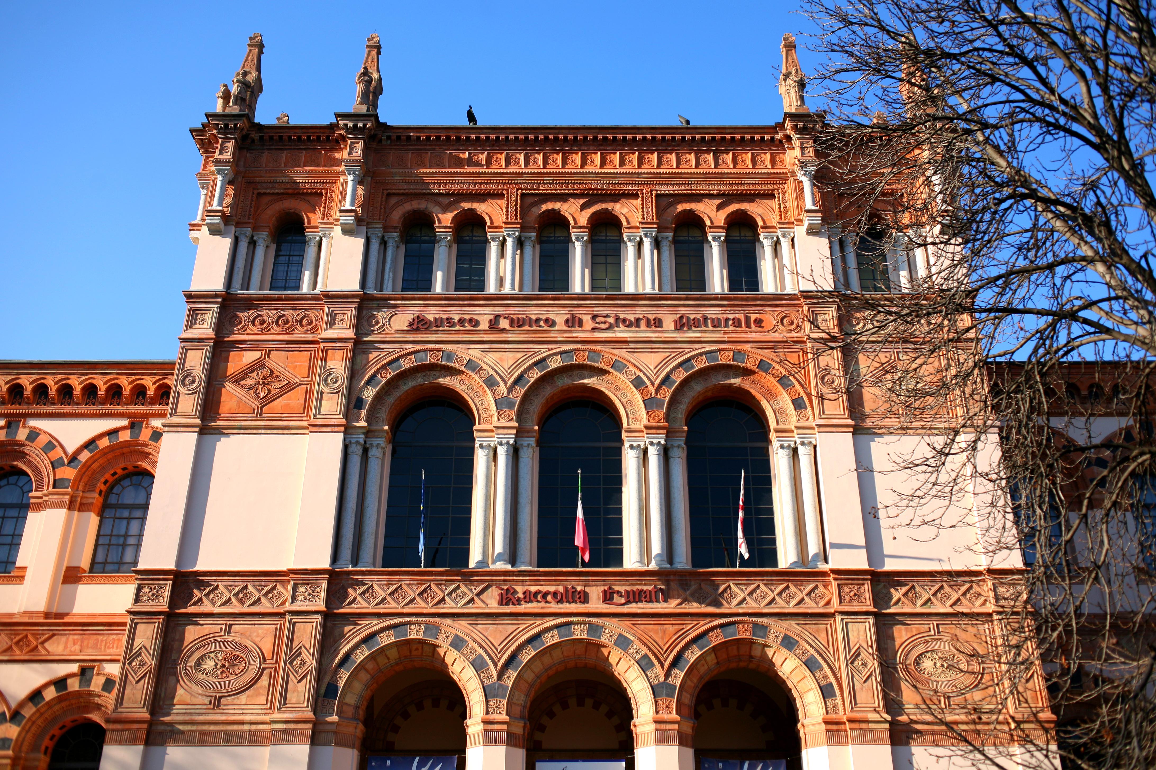 Veduta della facciata neoromanica del Museo civico di storia naturale di Milano 1888 1893