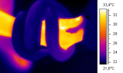 Imagen infrarroja de una serpiente en torno a un brazo humano