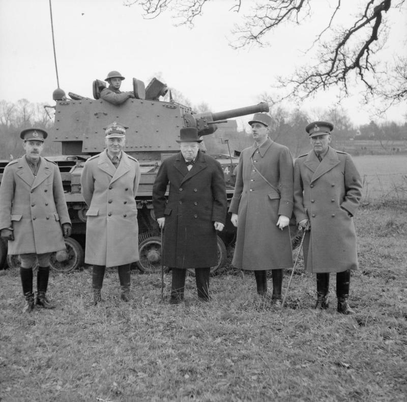 General Martel with Wladyslaw Sikorski, Winston Churchill,  Charles de Gaulle and General Andrew Thorne