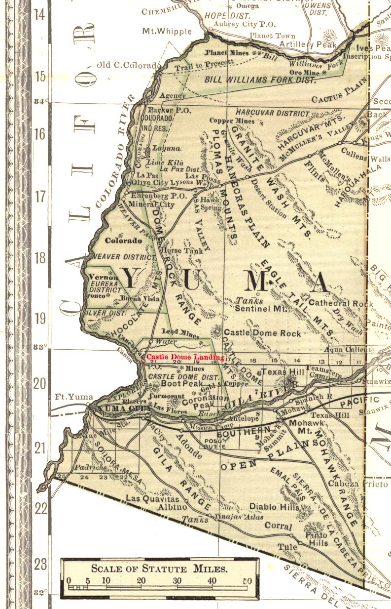 Map Of Yuma Arizona And Surrounding Area.File Yuma County Arizona Circa 1883 Castle Dome Landing Jpg