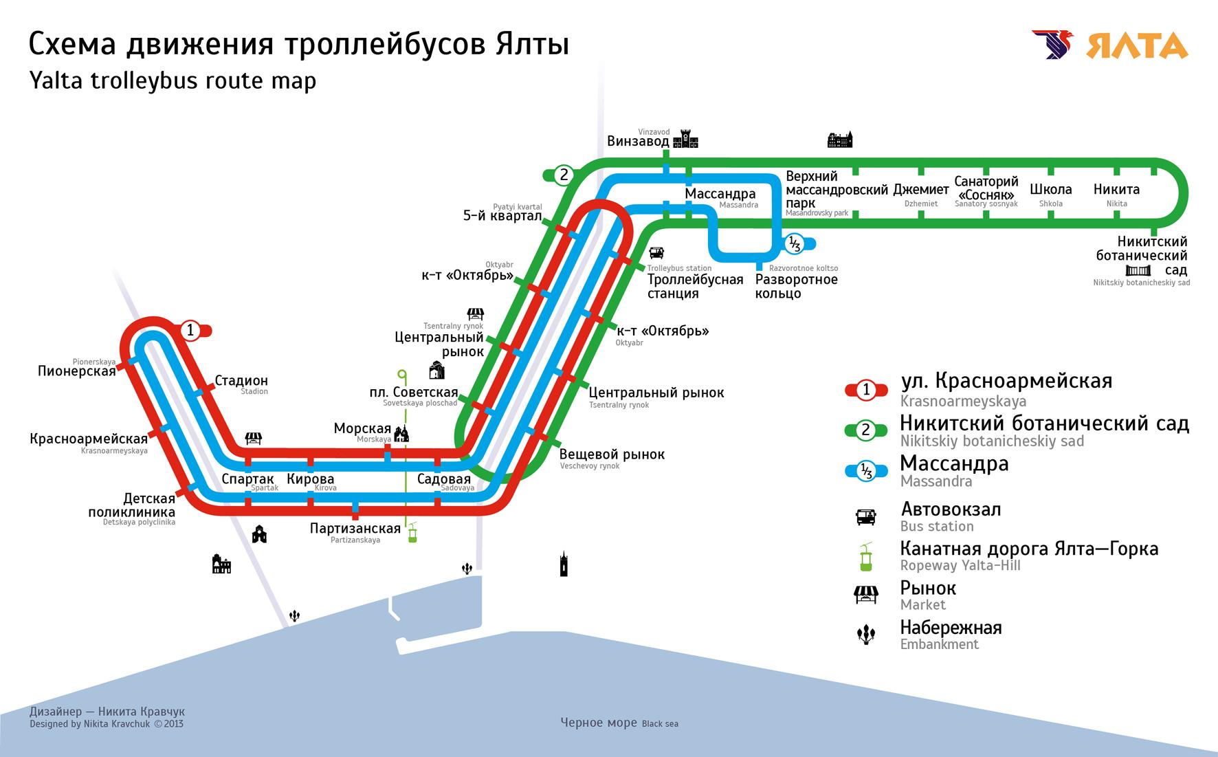 Крым алушта схема движения троллейбусов