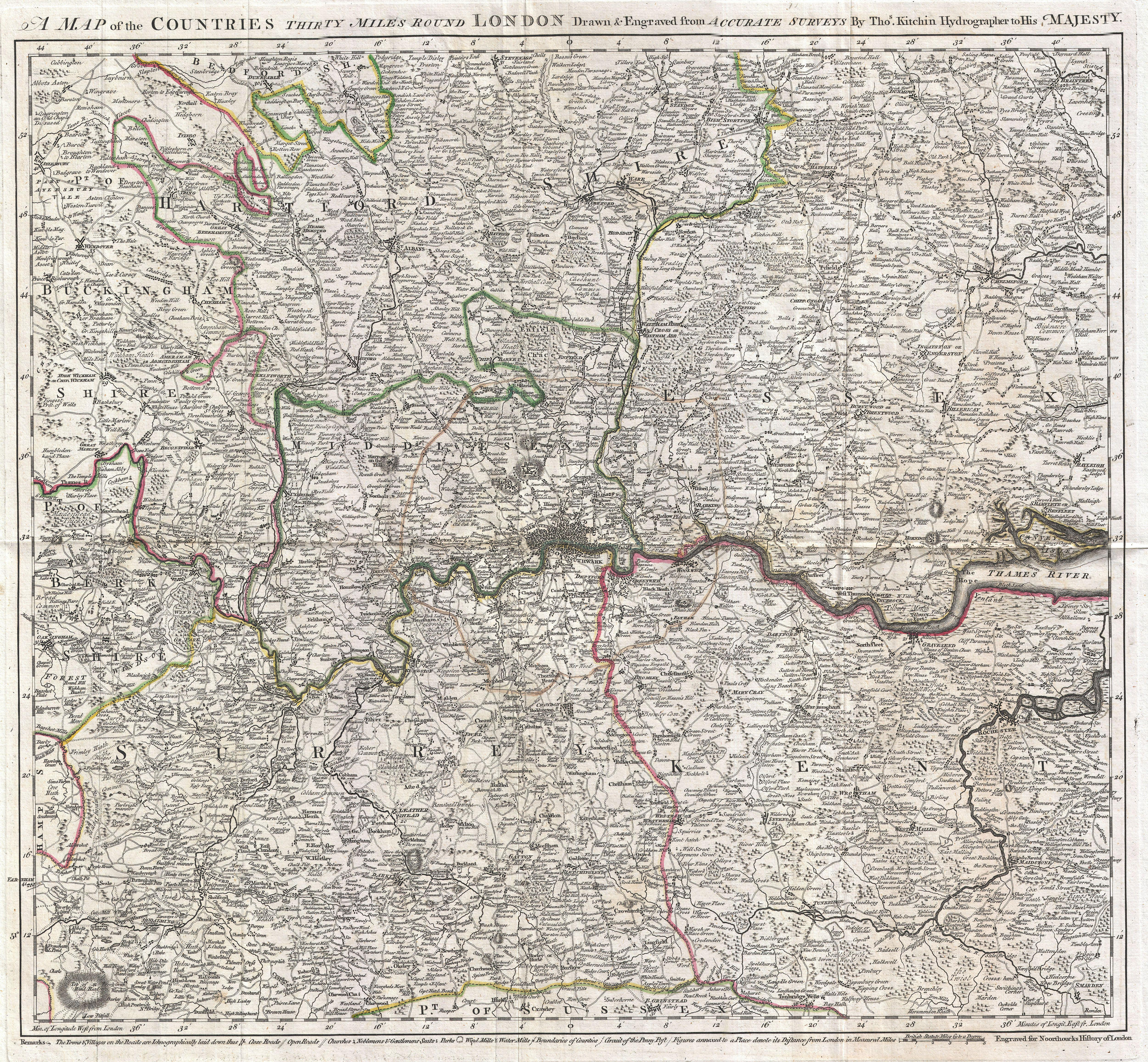 File Kitchin Map Of The Country Miles Around London - 02 london map