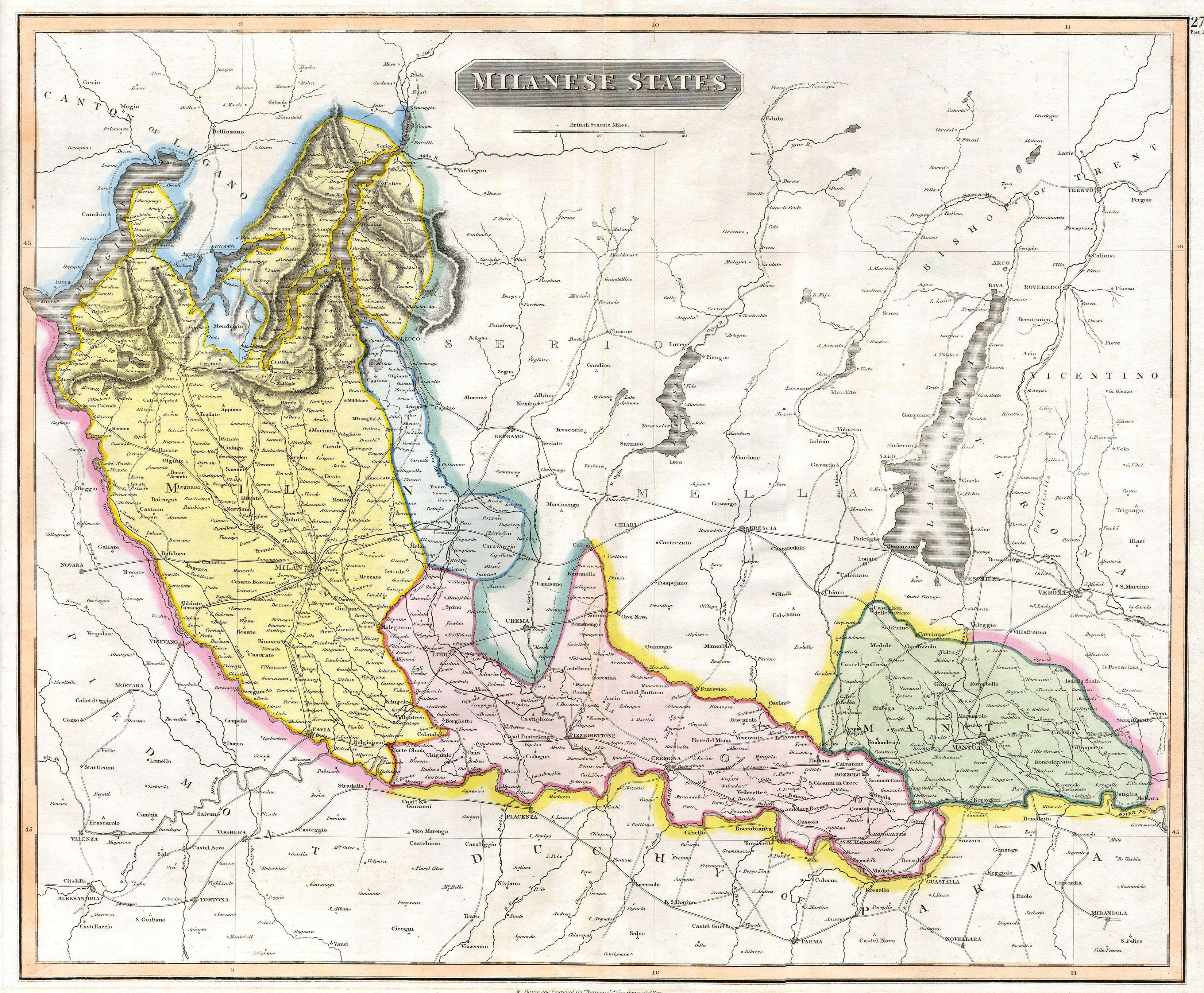 Lo Stato di Milano durante la dominazione austriaca del XVIII secolo in un disegno del 1815