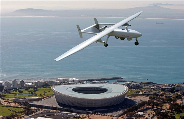 A Seeker 400 drone, manufactured by South African company Denel Dynamics, flies over Cape Town Stadium.