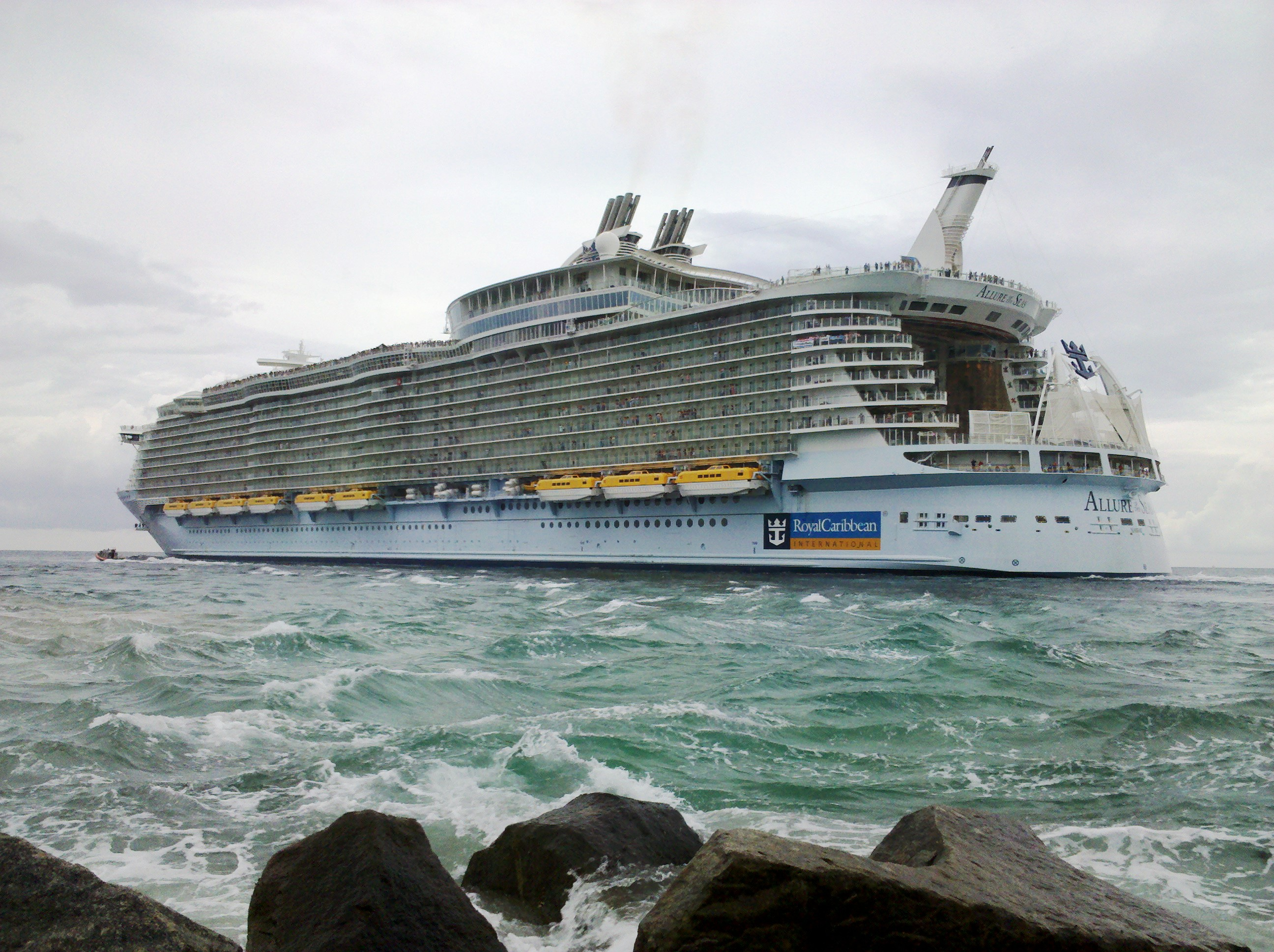 FileAllure Of The Seas Leaving Port Evergladesjpg Wikimedia - Cruise ship in rough waters