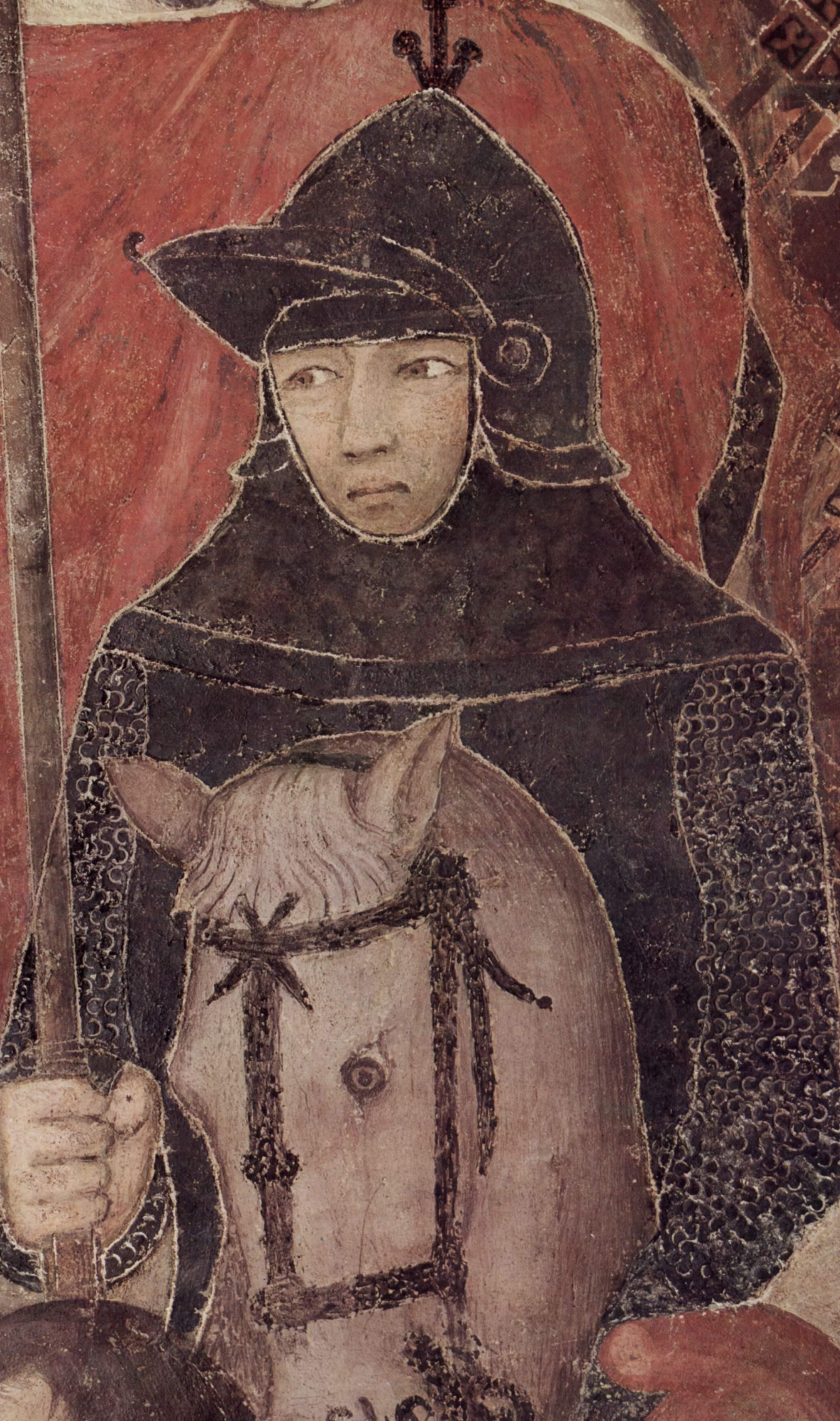 Giovanni di Agostino, San Galgano conficca la spada nella roccia, bassorilievo in marmo (1332-1347 ca.). Pinacoteca Nazionale, Siena.