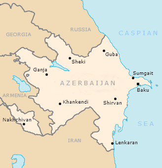 Azerbaijan and its main cities Azerbaijan Republic map.png
