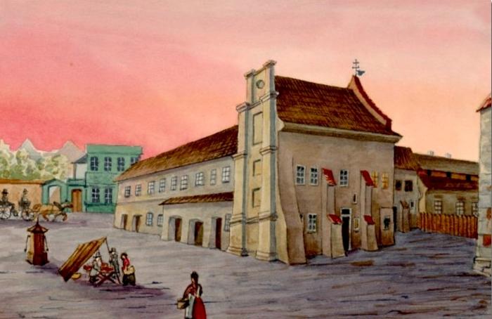 Kościół i szpital na akwareli Klemensa Bąkowskiego, 2. poł. XIX w.