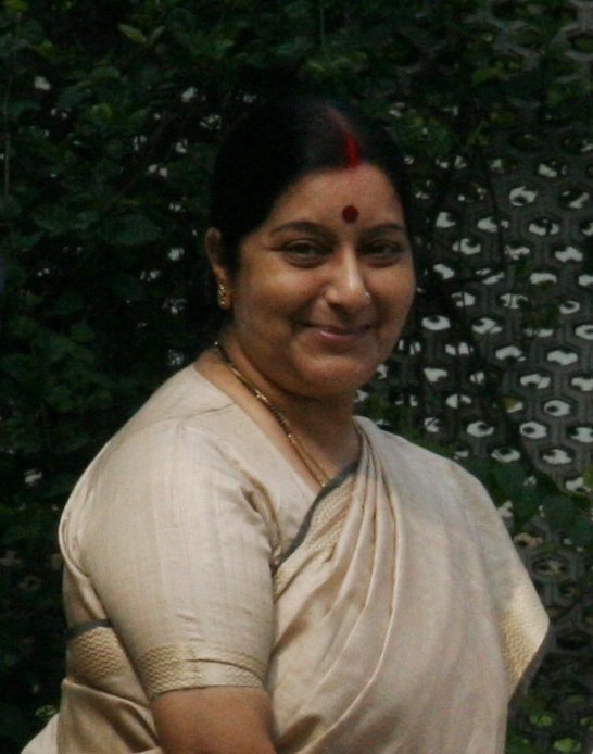 English: BJP Party leader Sushma Swaraj greets...