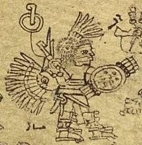 The Aztec emperor Chimalpopoca in Huitzilopochtli costume, from the Codex Xolotl.