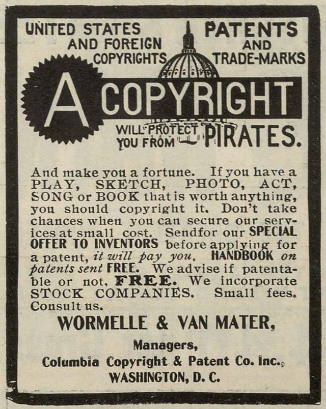 Advertisement from firm in 1906 offering patent and copyright services