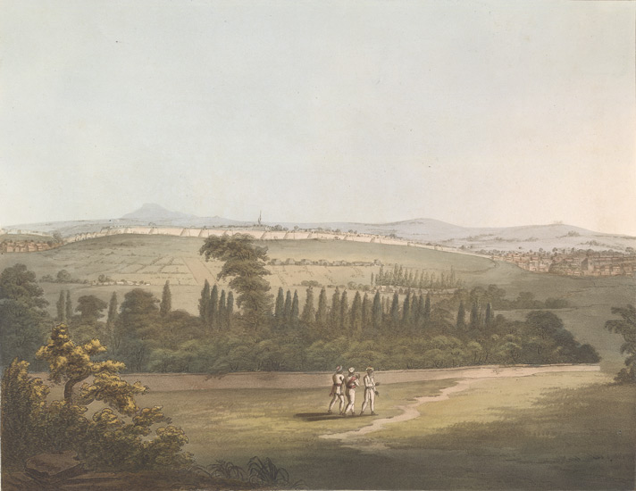 East view of Bangalore in 1792, with the cypress garden, from a pagoda, by James Hunter. Credit: Wikimedia Commons [Licensed under Public Domain]