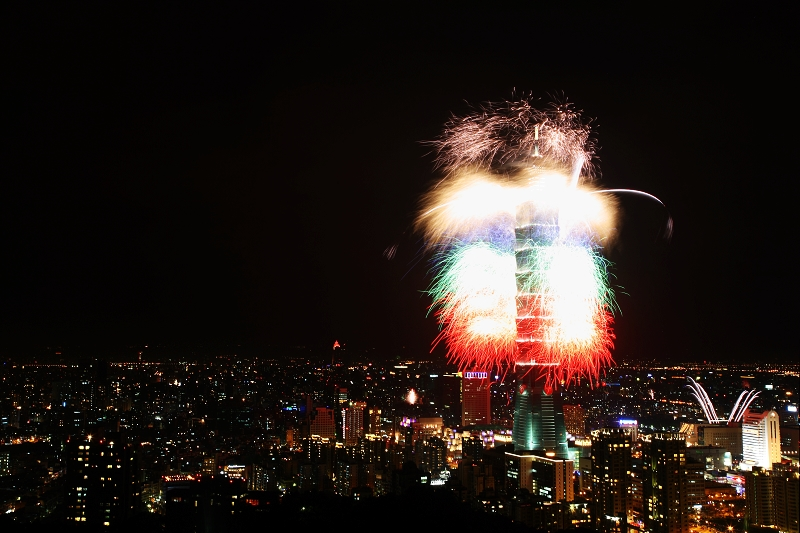 Fireworks from Taipei 101 tower