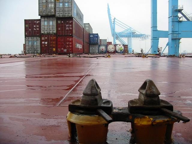 First level of twistlocks on a containership deck