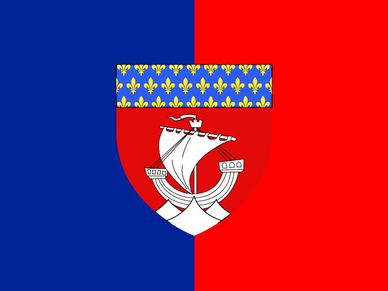 Description flag of paris with shield