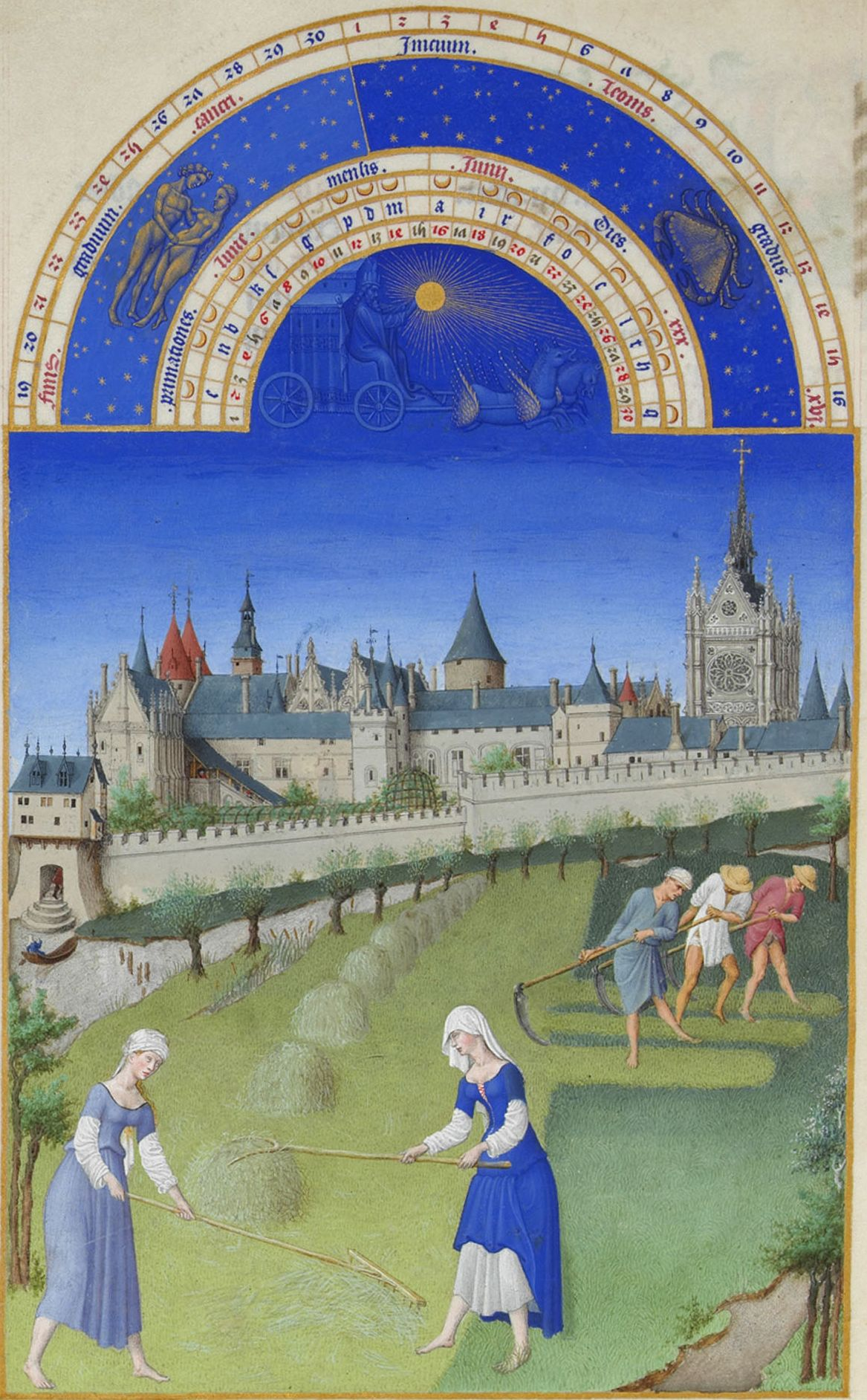 """Limbourg Brothers, """"The Book of Hours."""" Haymaking. Place - Paris, Zhyuif meadow on the island, close to the Cité."""