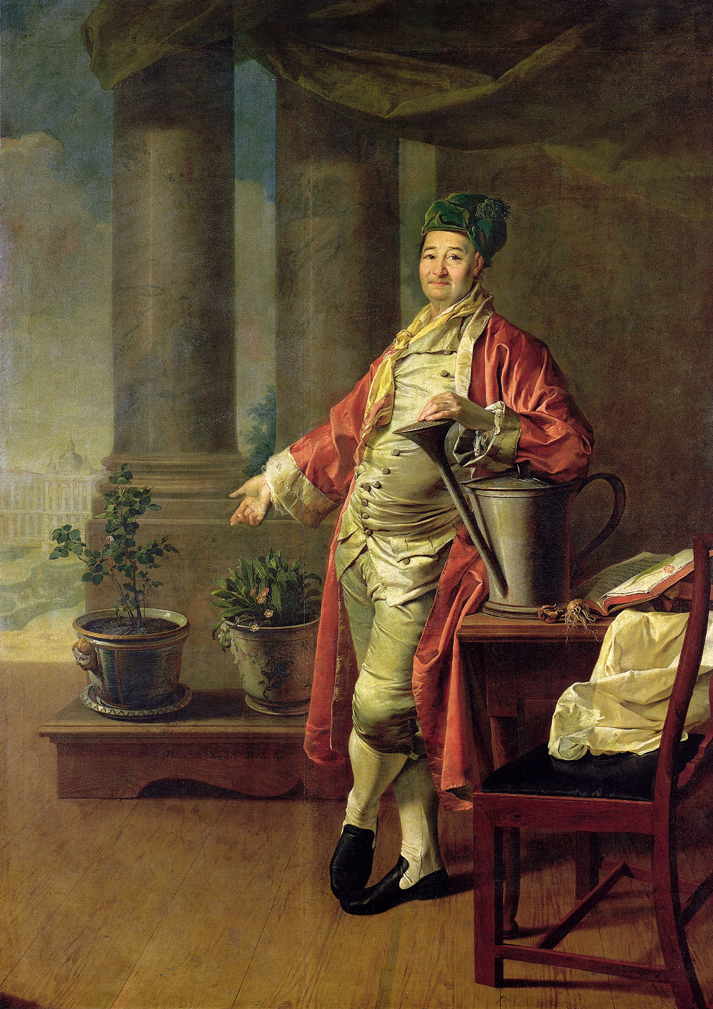 Dmitry Levitsky, Portrait of Prokofiy Demidov, 1773,The State Tretyakov Gallery, Moscow, Russia. Homewear Outfits for Wealthy Botanist. homewear outfits in art