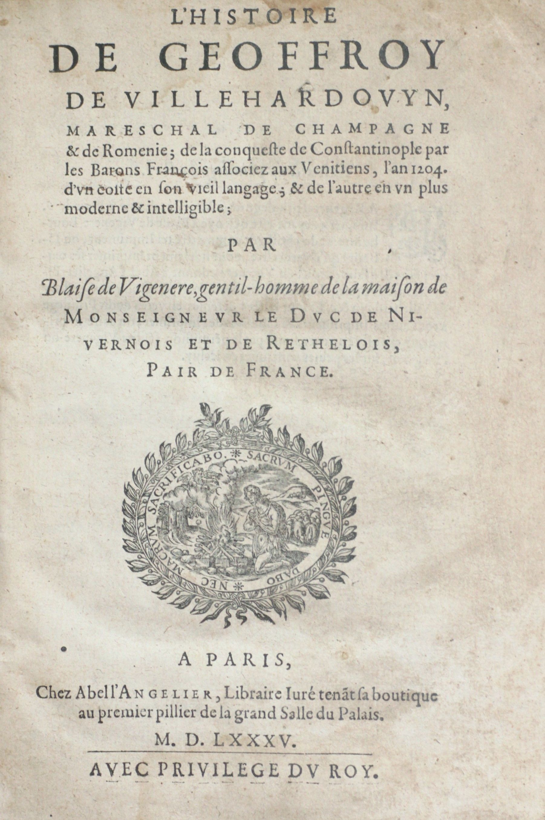 1585 edition with original text and translation in 16th-century French