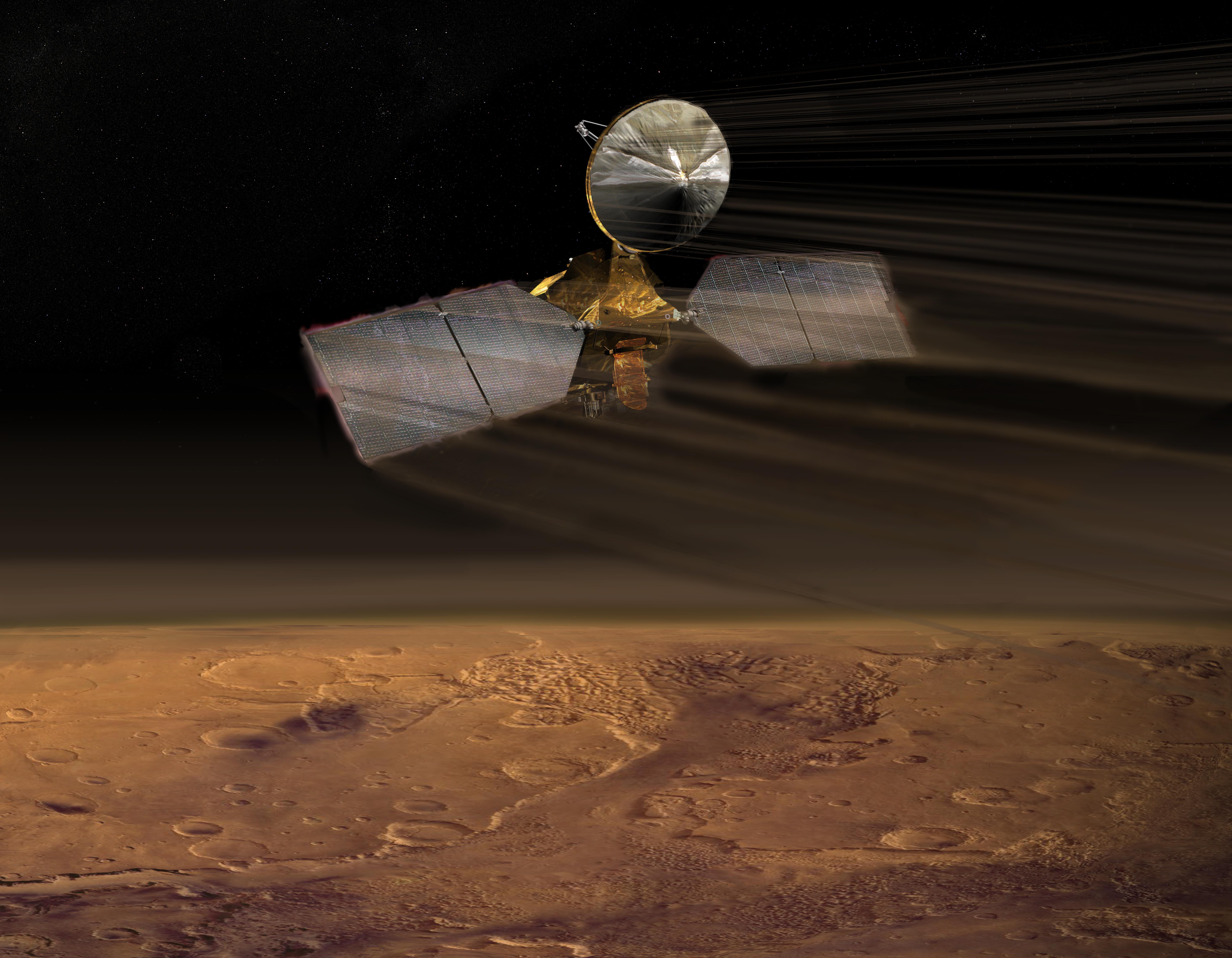 Artists Impression of MRO Aerobraking (credit JPL and Wikipedia)