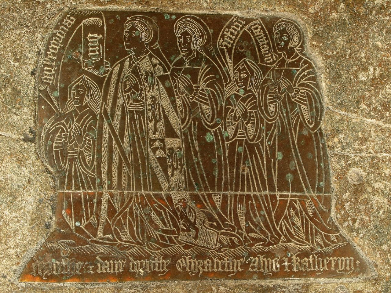 [[Monumental brass]] in chancel floor of Norbury Church to Anthony Fitzherbert and his wife. The foremost standing lady wears a mantle on which are shown the following arms: ''Gules, three lions rampant or'' (FitzHerbert of Tissington) quartering: ''Argent, a chief vairy gules and or overall a bend sable'' (FitzHerbert of Swynnerton)