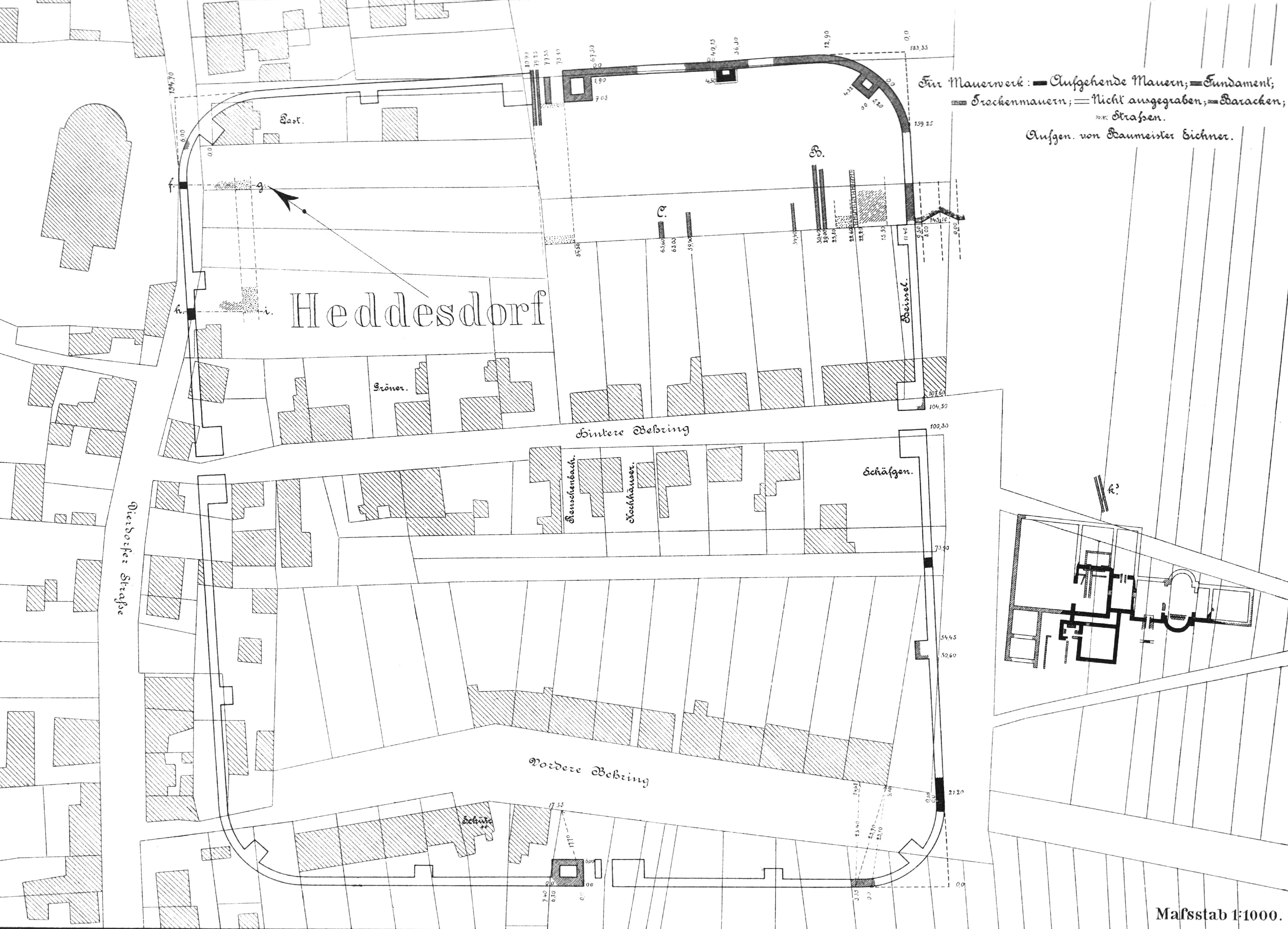 Lageplan des Kastells Heddesdorf