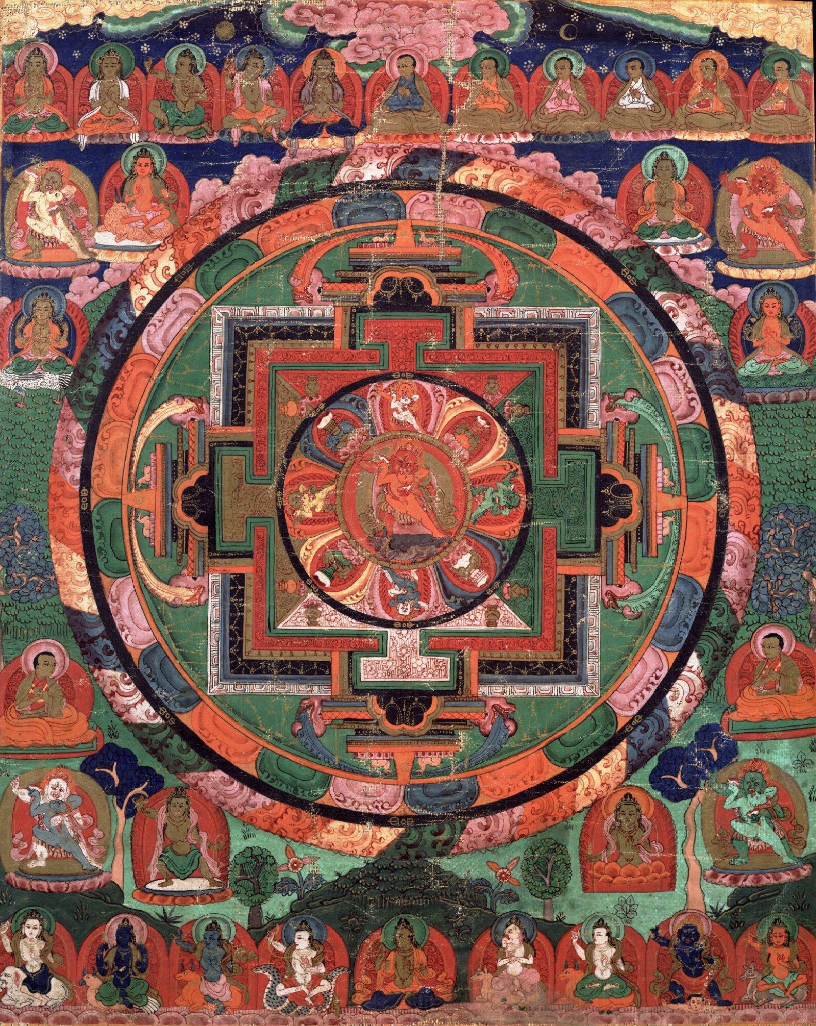 Painted 17th century Tibetan 'Five Deity Mandala', in the center is Rakta Yamari (the Red Enemy of Death) embracing his consort Vajra Vetali, in the corners are the Red, Green White and Yellow Yamari.jpg