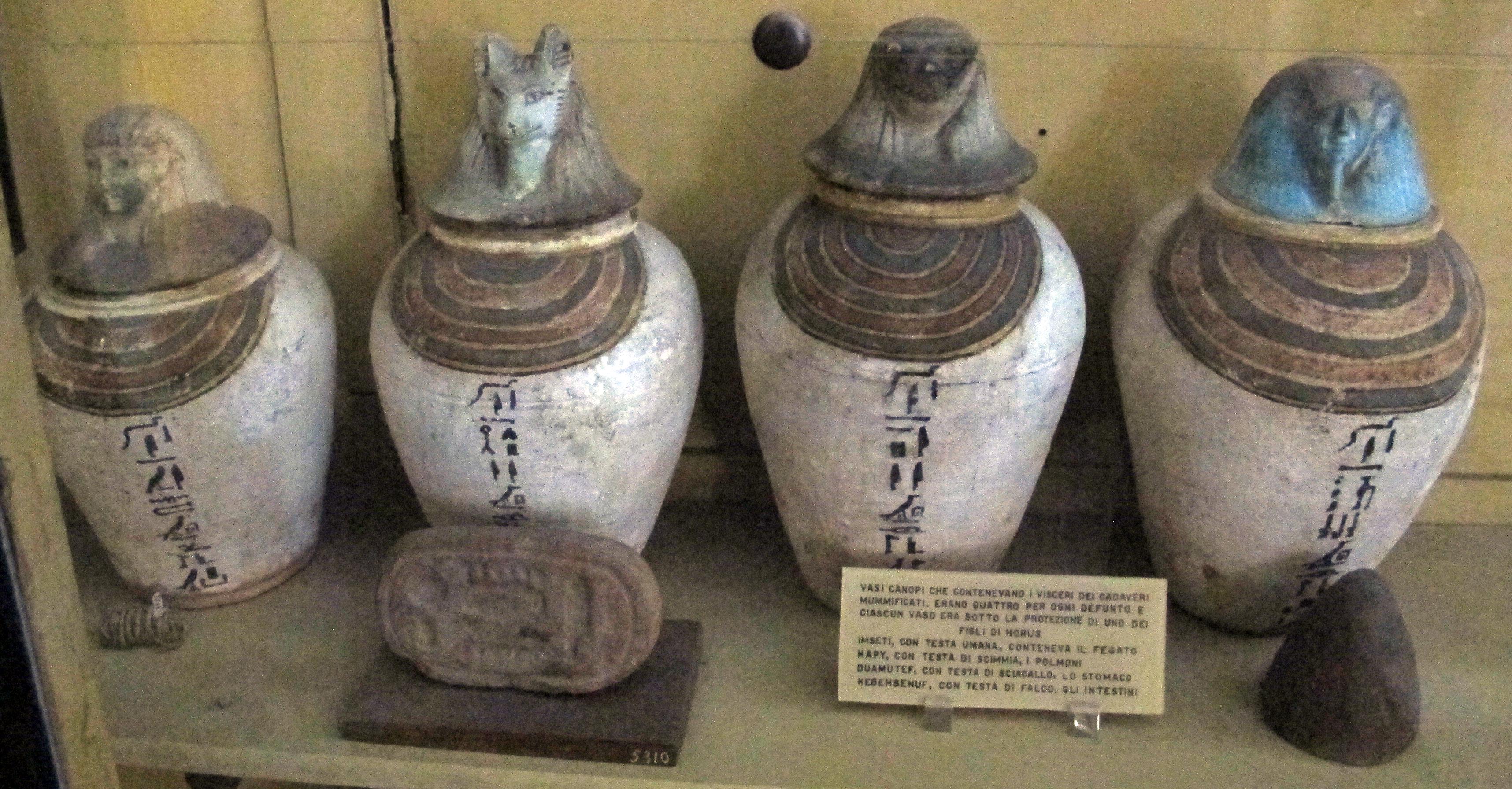 File:Periodo tolemaico, quattro vasi canopi con testa a forma dei figli di  horus.JPG - Wikimedia Commons