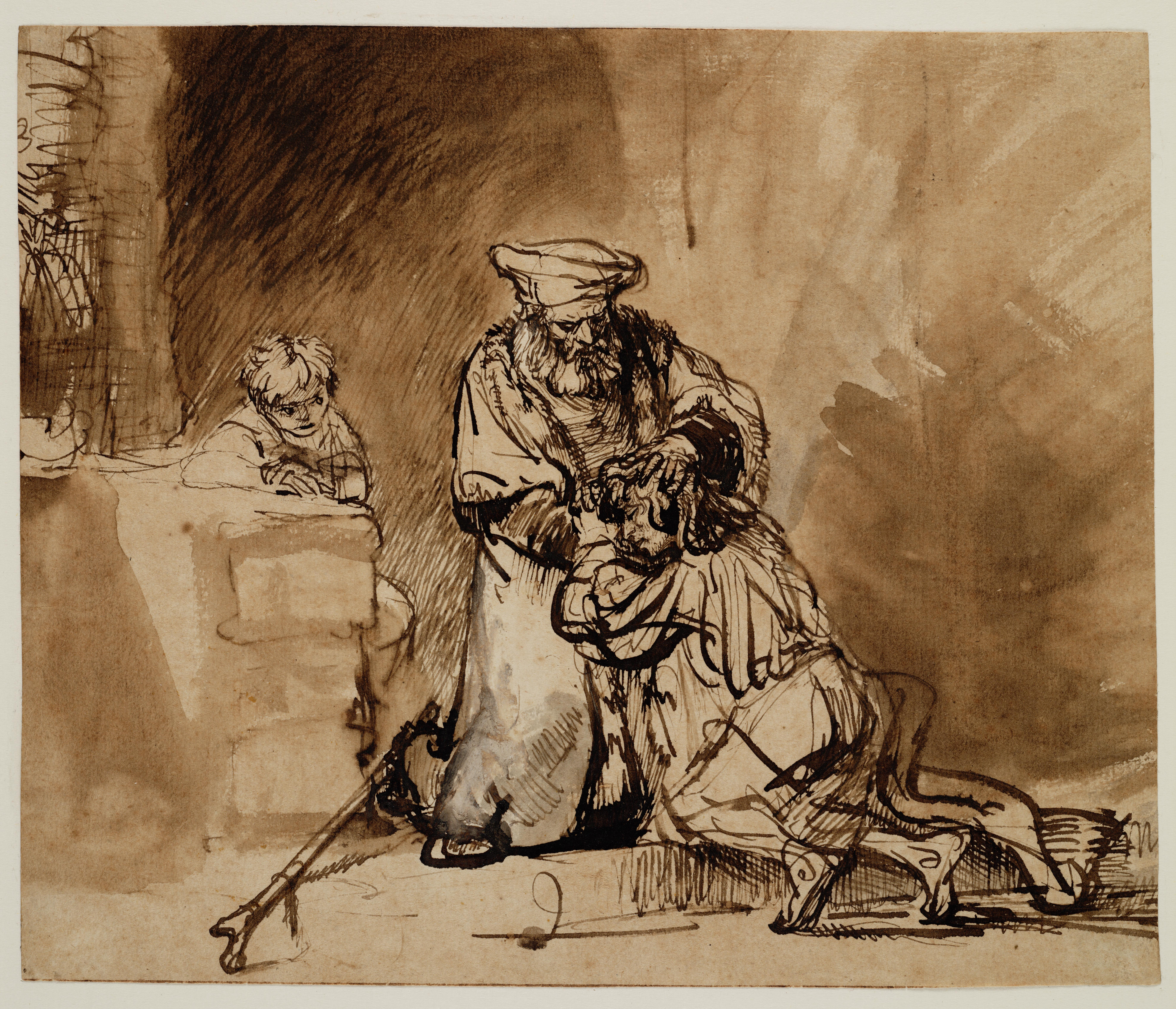 Rembrandt drawing - Prodigal Son