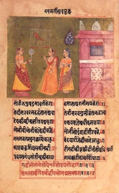 Queen Nagamati talks to her parrot, Padmavat, c1750.jpg