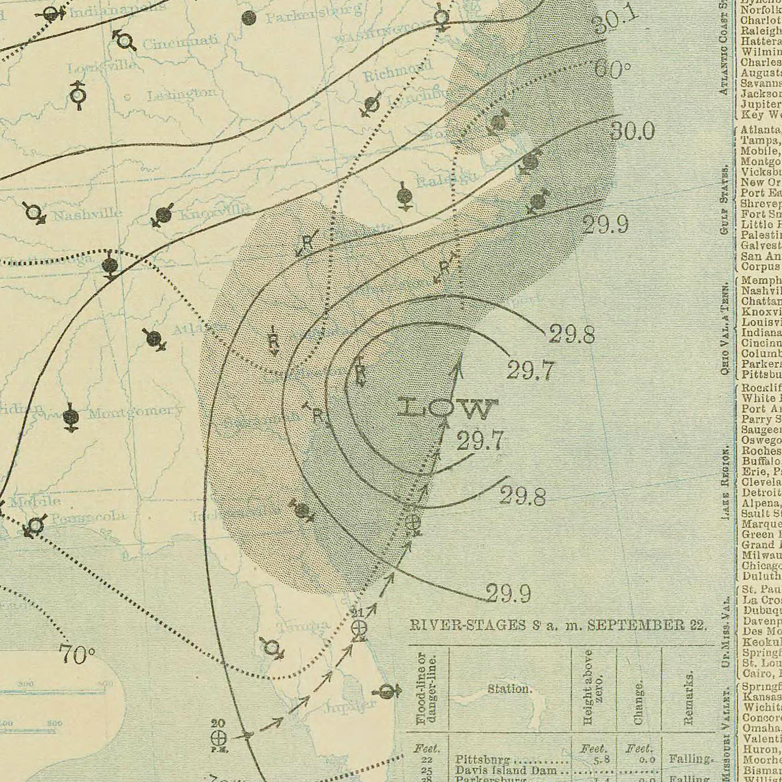 File September 22 1897 Tropical Storm 3 Weather Map Jpg Wikimedia