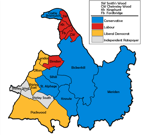 Map of the results for the 1996 Solihull council election.