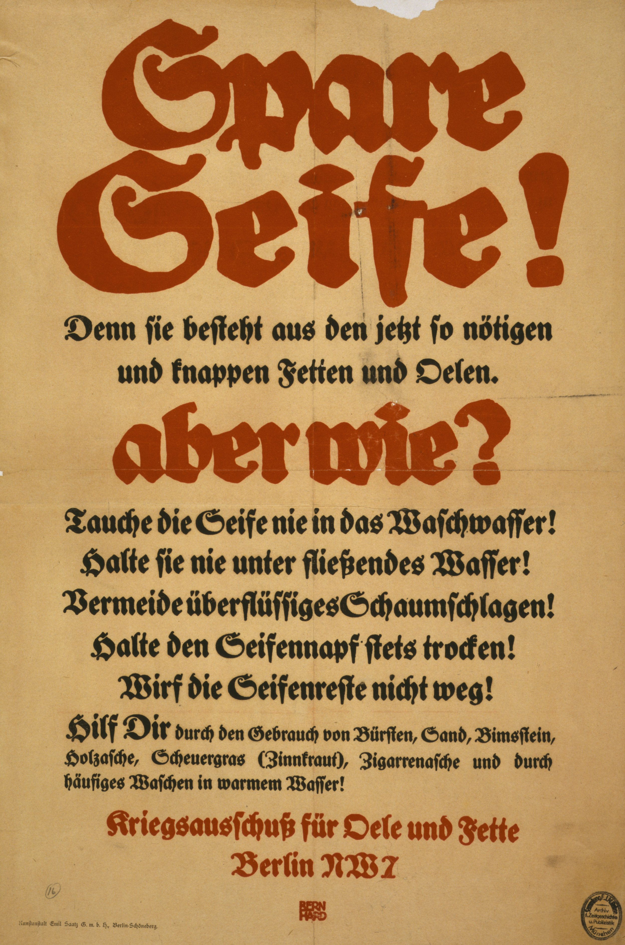 Spare Seife, aber wie? Poster 1915 - Quelle: WikiCommons