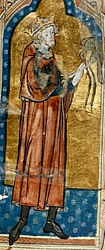 14th century depiction of Stephen with a hunting bird Stephen bird.jpg