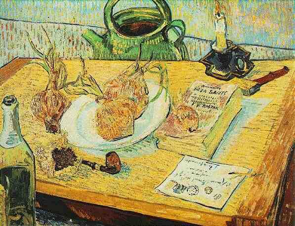 Natura morta con tavolo da disegno pipa cipolle e cera - Tavolo da disegno con tecnigrafo ...