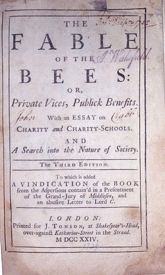 The Fable of the Bees, by Bernard Mandeville (title page)