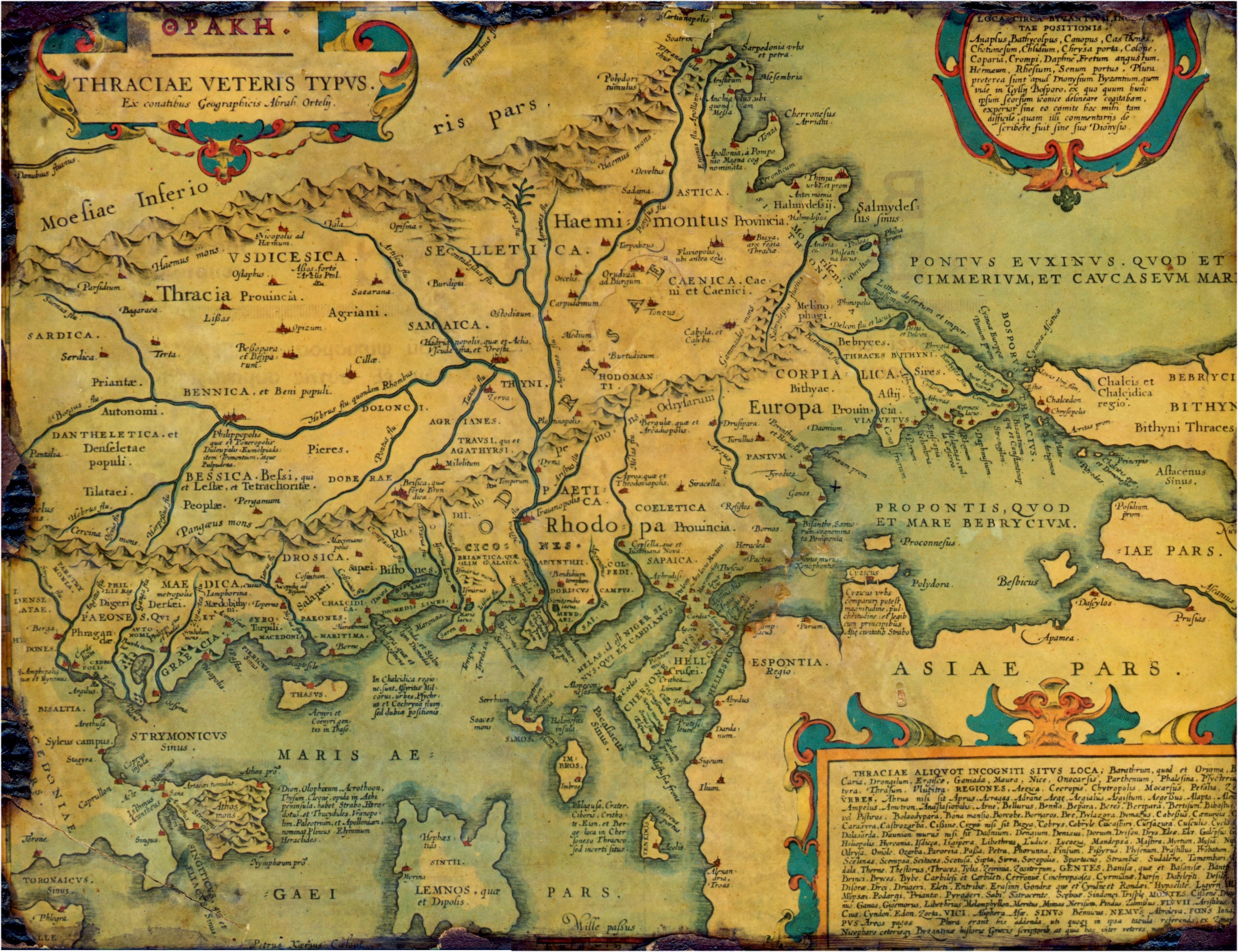 Mapa de la antigua Tracia, realizado en 1585.