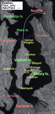 Detailed map of Vashon-Maury Island, Washington