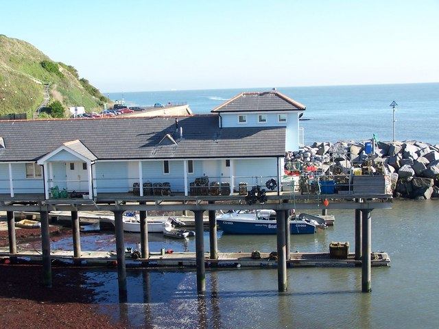 Ventnor Haven Fishery The fishery viewed from on top of the adjacent water treatment works