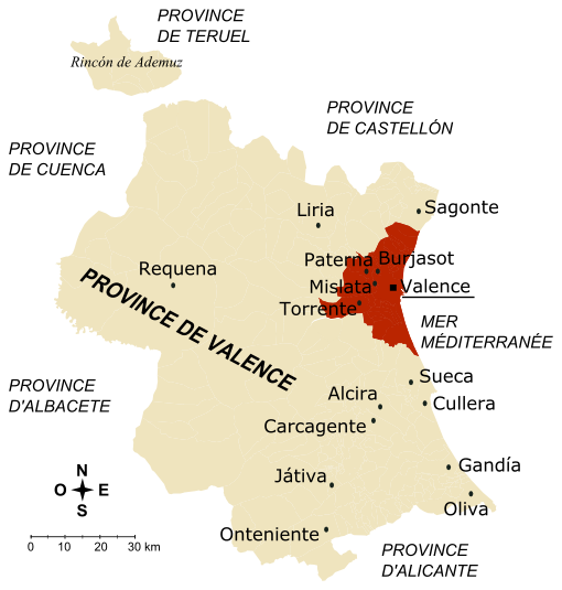 carte espagne province de valence