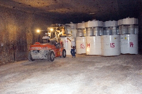The placement of Nuclear waste flasks, generated during US cold war activities, underground at the WIPP facility. The facility is seen as a potential demonstration, for later civilian generated spent fuel, or constituents of it. WIPP-04.jpeg